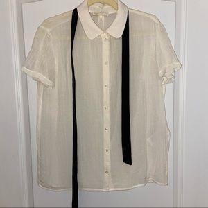 Maje Collar Bow Viscose Short Sleeves Blouse